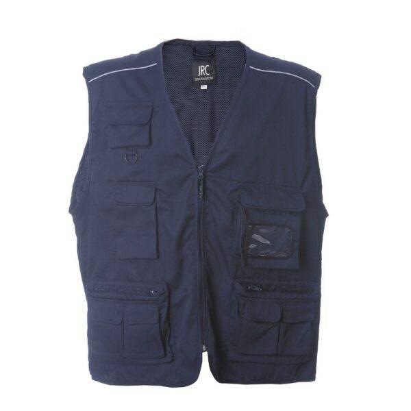 Abbigliamento da lavoro GILET UOMO JRC SAFARI 9 TASCHE PROFILI RIFRANGENTI PERSONALIZZABILE